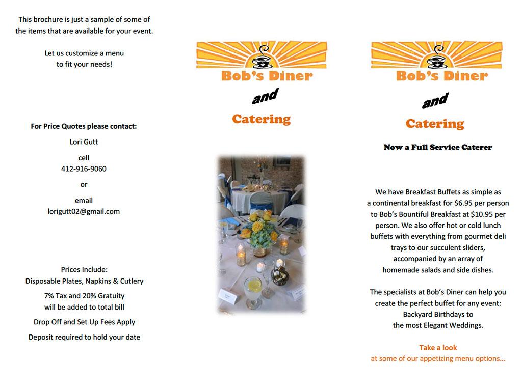 Bob's Diner catering menu
