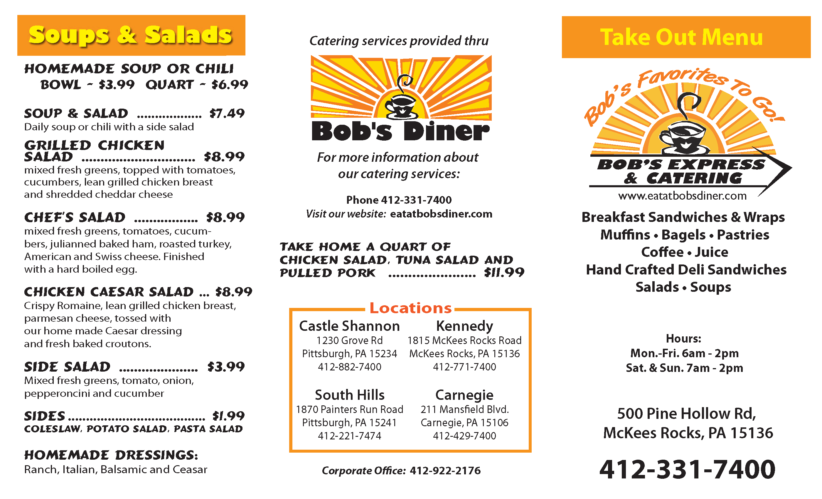Bob's Diner menu